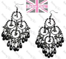 """4""""long BIG gothic CHANDELIER EARRINGS bead BLACK antique vintage style NEXT"""