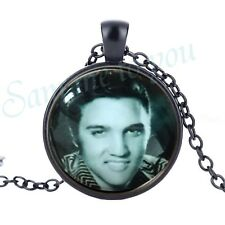 ELVIS PRESLEY Glass Pendant & Necklace or Key Ring Rock n Roll Jewellery UK FAST
