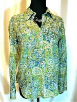 """EUC Lucky Brand M 100% Cotton Green Turquoise Paisley Floral """"Lucky You"""" Shirt"""