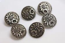 set 6 art nouveau style gold tone 18mm floral leaf detail metal shank buttons