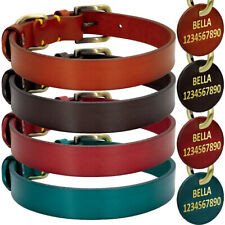 Luxury Pet Dog Collars with Personalized Leather ID Tag Name&Number Brass Buckle