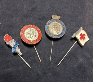 VINTAGE PIN BADGES-GOOD CONDITION-RED CROSS, CORONATION, LEGACY