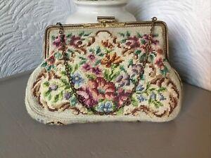 Antique Edwardian Ornate Tapestry Embroidered Evening Bag #6441