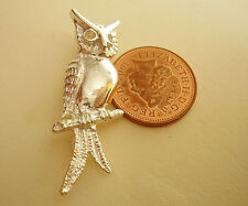 GORGEOUS SOLID STERLING SILVER OWL BROOCH
