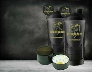 STIERNACKEN - 2 Stück Protein Eiweiß Mix Shaker Schwarz/Gold 700ml +350ml Fächer