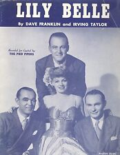 Vintage 1945 Lily Belle Sheet Music Franklin & Taylor Pied Pipers