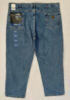 NEW Carhartt Relaxed Work Fit Straight Leg Men's 46x30 Denim Jeans Medium Wash