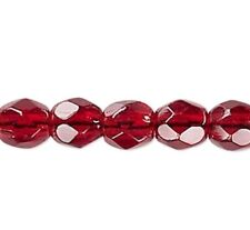 1 Strand Translucent Garnet Red 3mm Czech FirePolished Faceted Round Glass Beads