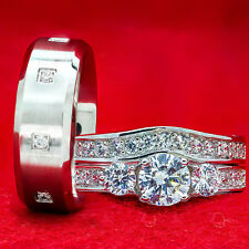 WEDDING RINGS 3 pcs  Engagement SET CZ 925 Sterling Silver & Stainless Steel Hot