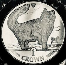 Isle of Man - Norwegian Forest Cat Crown - 1991 - Br. Uncirculated in Folder