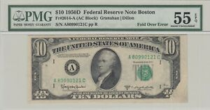 USA, Federal Reserve Note Boston, ERROR - FOLD OVER, PMG-55 EPQ Extremely RARE