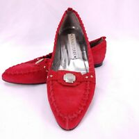 Donald J Pliner Moccasin Loafers 6.5M Red Suede Southwestern Whip Stitch