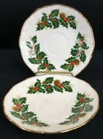 "Vintage Rosina China Queen's Yuletide Replacement Saucers 5.75"" Made In England"