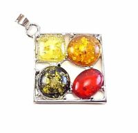 BALTIC AMBER GEMSTONE 925 STERLING SILVER PLATED PENDANT JEWELRY #SJPT-1004FX