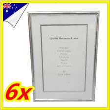 6 x Sliver A4 Size Document Certificate Photo Picture Glass Frame Bulk Lots Sets