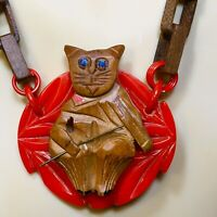 Unique Cat & The Fiddle, Carved Wood & Red Bakelite Pendant / Wood Link Necklace