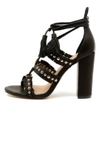 Mollini Mimi Leather Heels Gold Black Size 40 #115 RRP $210