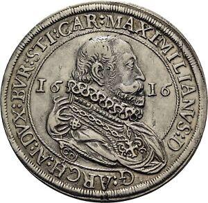 Holy Roman Empire, Habsburg, Taler 1616, Hall, Maximilian (1612-1618)