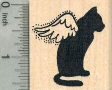 Cat Angel Rubber Stamp, Pet Loss Silhouette Series E29812 WM