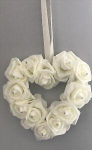 Ivory foam rose hanging heart , Home, Wedding Decor