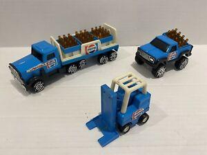 1984 Pepsi Cola Buddy L Steel / Plastic Truck Trailer Fork Lift Soda Bottles SET