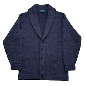 """Mens 44 """" Alan Paine Heavy Dark Grey Cable Knit 100 % Wool Cowl Neck Cardigan"""