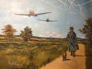 Original Acrylic Painting by P.Hill. Messerschmitt BF109E. Battle of Britain1940
