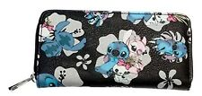 Lilo And Stitch With Flowers Pu Leather Women's Hand Purse Clutch Wallet