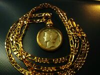 """Antique Finish Silver Mercury Dime on a 18KGF 22""""  Gold Filled Oval Link Chain"""