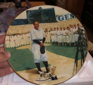"""Delphi 1993 """"Lou Gehrig: The Luckiest Man"""" Collectors Plate Limited 1344 A w/COA"""