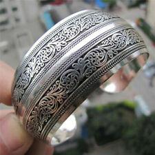 Tibetan Silver Plated Tibet Totem Bangle Jewelry Cq9qf Wide Bracelet Aq9q
