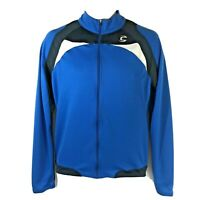 Cannondale Men's M Cycling Jacket Full Zip Blue Long Sleeve Back Pockets Medium