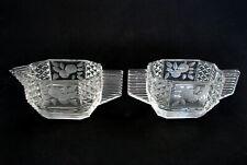 Art Deco Depression Glass Octagonal Individual Creamer & Sugar Engraved Flowers