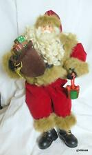 "Big Shelf Sitter Santa with Toy Bag and Present Velvet Outfit 24"" Total"