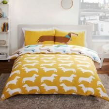 Sausage Dog Double Duvet Cover Set 2 in 1 Reversible