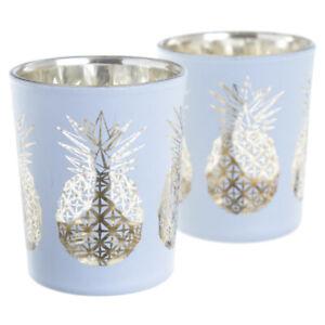Set of 2 Glass Candleholders Tropical Pineapple Design Votive Tealight White Box