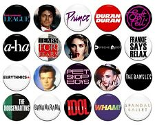 20x 80's Pop Music Groups Bands Artists 25mm / 1 Inch D Pin Button Badges