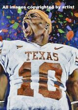 VINCE YOUNG Autographed Limited Edition Fine Art Print TEXAS ROSE BOWL
