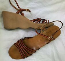 Vtg 70s Famolare Go There 3� Wedge Wave Platform Sandals 9.5 Italy