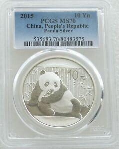2015 China Panda 10 Ten Yuan Solid .999 Silver 1oz Coin PCGS MS70