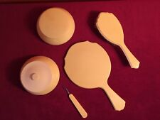Vintage French Ivory mirror brush Celluloid Pyralin Du Barry Vanity Dresser Set