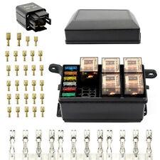 6 Way Relay Box Fuse Block Holder Kit w/ATC/ATO Dustproof Waterproof 12 V