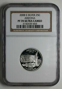 2008-S Arizona Silver Quarter NGC PR 70 Ultra Cameo UNC - 183727A