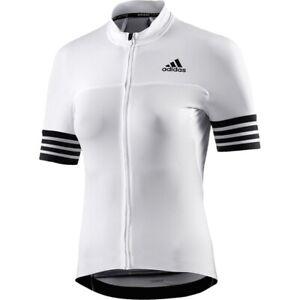 Adidas Ladies Cycling Jersey Bicycle Bike Shirt Summer Road MTB White/Black