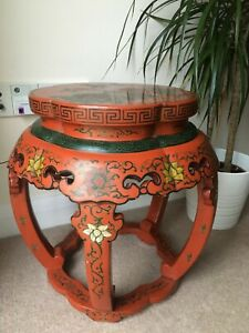 Chinese Lacquered Carved Wood Barrel Zuodun Stool, Qing Dynasty, ca.19th century