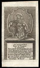 santino incisione 1700 S.CANUTO RE DI DANIMARCA