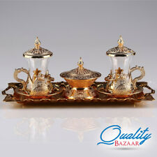 Gorgeous Ottoman Pattern Copper Plated Turkish Tea Set For wo