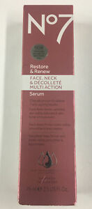 No7 Restore and Renew Face & Neck Multi Action Serum 75ml - New In Box