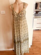 Ladies Green Leaf KATIES Maxi Dress Size 12 Summer Long