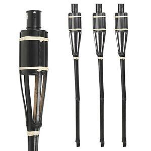 3/6Pcs 65cm Black Bamboo Tiki Torch Outdoor Garden Oil Paraffin Patio Light